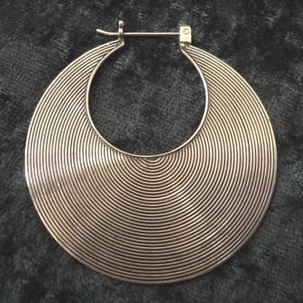 Sterling Silver Large Disk Hoop Earrings