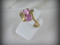 10kt Gold Ring with 2 pink stones