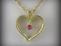 14kt Gold Heart Shaped Pendant with Ruby