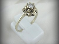 10kt White Gold Flower Ring with .25ct Diamond