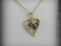 10kt Gold Heart Shaped Pendant with Sapphires