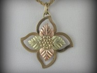 10kt Black Hills Gold Flower Pendant with 12kt Leaves