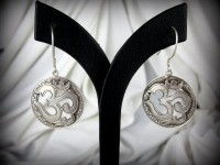Sterling Silver Om Earrings