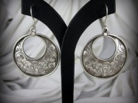 Hand Etched Lotus Flower Earrings